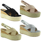 Womens Ladies Cork Hessian Strappy Espadrilles Platform Shoes Wedge Sandals Size