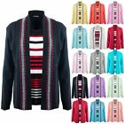 Womens Open Front Long Sleeve Fine Knitted Striped Jumper Ladies Twin Cardigan