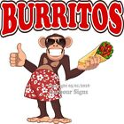 Burritos DECAL (Choose Your Size) Monkey Mexican food Truck Concession Sticker