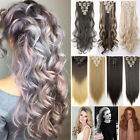 US Clip In Hair Extensions Full Head 8 Pcs Straight Wavy As Human Remy Hair Fl5