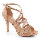 Rose Gold Glitter Formal Heels Bridesmaid Wedding Womans Large size Shoes 11 12