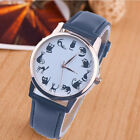 Women Ladies Casual Watch Cat Dial Leather Stainless Steel Quartz Wrist Watches