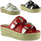 Womens Ladies Buckle Slip On Platform Espadrilles Shoes Wedge Sandals Size