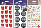 birthday invited - U CHOOSE Sticko Stickers PARTY CUPS - YOU'RE INVITED TAGS - BIRTHDAY PHRASES