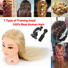 Neverland Hairdressing Training Practice Mannequin Head 100% Human Hair Clamp