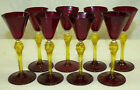 8 Old Murano Ruby Red & Gold Fleck Glass Cordial Liqueur Stem Set Venetian Italy