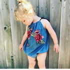 UK TODDLER BABY GIRL'S FLOWER SLEEVELESS JUMPSUIT SUMMER PARTY ROMPER CRAWL SUIT