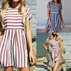 Womens Short Sleeve O Neck Striped Evening Cocktail Beach Dress Summer Fashion