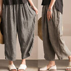 Women Elastic Waist Casual Wide Legs Baggy Loose Pants Plaid  Trousers S-5XL