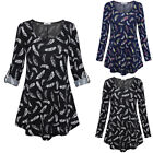 HOT Women Female Long Sleeve Feather Printed Blouse Casual Long Tops 2colors US