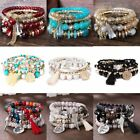 Fashion Multilayer Natural Stone Crystal Bangle Women Beaded Bracelet Jewelry image