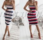 Two Fashion Womens Casual Camisole Dress Ladies Summer Printed Stripy Dress