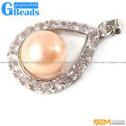 17x27mm Pearl Pendant With Rhinestone Gold Plated Frame Jewelry Free Shipping