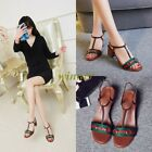 Chic WOmens Block Chunky Heel T-Strap Metal Decor Buckel Sandals Shoes Slingback
