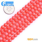 """Pink Coral Gemstone Faceted Round Beads For Jewelry Making Free Shipping 15"""""""