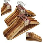 RECYCLED WOOD WOODEN COAT SUIT GARMENT CLOTHES WARDROBE HANGERS WITH TROUSER BAR