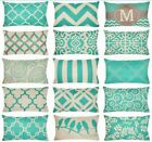 "12x20"" Turquoise Linen Vintage Decorative Throw Pillow Cover Sofa Cushion Case"
