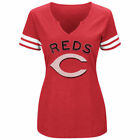 Women's Majestic Red/White Cincinnati Reds Decisive Moment V-Notch T-Shirt on Ebay