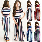 Fashion Kids Girls Short Sleeve Striped Dresses Summer Holiday Party Maxi Dress