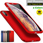 Ultra Thin Slim Hard Case Cover For Apple iPhone 8 7 6 6S Plus + Tempered Glass