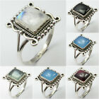 Select Your Size! 925 Sterling Silver RAINBOW MOONSTONE & Other Gemstones Ring