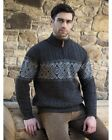 Celtic Irish Jacquard Half Zip Sweater x4843-Made in Ireland of 100% Merino Wool