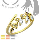 Adjustable Toe Ring Mid Ring with Marquise Cut Clear CZ Set Leaf