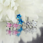 SURGICAL STEEL TWIN DOUBLE STAR IN CRYSTAL Cz L SHAPED PRE BENT NOSE STUD