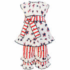 AnnLoren Girls 4th of July Holiday Cotton Stars & Stripes Outfit sz 2/3T-11/12