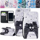 Cute Cat Pattenred Pu Leather Wallet Card Slots Case Cover For Iphone X 7 8 Ipod
