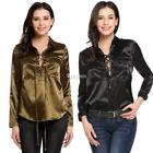 Women Fashion Lace Up Turn Down Collar Long Sleeve Pullover Pocket Solid DZ88 01