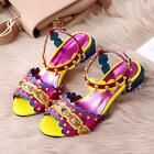 Women Real Leather New Rivet Spikes Open toe Color Match Chunky Heel Sandal Shos