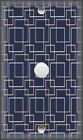 Metal Light Switch Plate Cover Navy Blue And Tan Geometric Design Home Decor