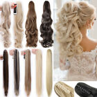 "18-27"" New Long Claw Ponytail Clip in Hair Extensions Curly Straight Wedding F5T"