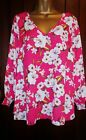 NEW EVANS PLUS SIZE 16-28 BLOUSE PINK IVORY FLORAL TUNIC TOP  SUMMER CHIFFON
