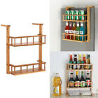 Wooden Herbs Kitchen Cupbord Jar Bottle Holder Rack Stand Wall Mounted 2-Tier