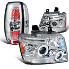 2007-2011 Chevy Avalanche Halo Prohector Headlights+LED Tail Brake Lamps Chrome