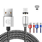 US 3/6/10ft USB Magnetic 360° Lightning Cable For Samsung S9 S8 S7 Fast Charger