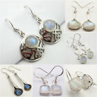 925 Sterling Silver Real RAINBOW MOONSTONE Earrings ! Choose STYLES, GEMSTONES