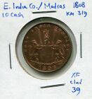1808 East India Co./Madras 10 Cash, cleaned, KM-319