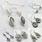 925 Sterling Silver Blue Fire LABRADORITE GEMSTONE DANGLING Earrings VARIATION