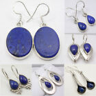 .925 SOLID STERLING Silver NAVY BLUE LAPIS LAZULI NEW Earrings, Choose Styles