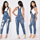 Summer Women Straps Jumpsuit Jeans Hole Bib Pants Overalls R