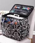 Rolling Sewing Machine Totes Polyester Ample Storage Space Fabric Magic Straps