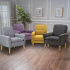 Modern Tufted Accent Arm Chair Contemporary Fabric Single Sofa Upholstered Linen
