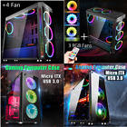 Gaming PC Computer Case RGB LED Cooling Fan Desktop Cover Mini/Mid/Full Tower