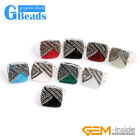 Trendy 18mm Square Beads Tibetan Silver Base Marcasite Ring Fashion Jewelry Gift
