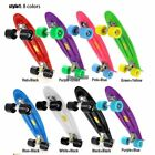Complete Plastic/Clear Deck Skateboard Banana Penny Board w/ Light up Wheel image