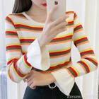 Korean Fashion Women Casual Striped Bell Sleeve Color Block T-Shirt Tops Blouse