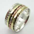 """""""3 Tone"""" 925 SOLID Silver, Copper & Brass SPINNER Ring Band ! ANCIENT STYLE GIFT"""